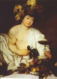 """Retrato majestoso de """"Baco"""" como Deus do Vinho, da embriaguez e dos instintos livres, de Caravaggio. O Jovem Baco representado com todos os atributos e num gesto galante de oferecer uma taça com vinho."""
