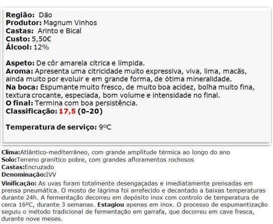 apreciacao Espumante Ribeiro Santo Branco