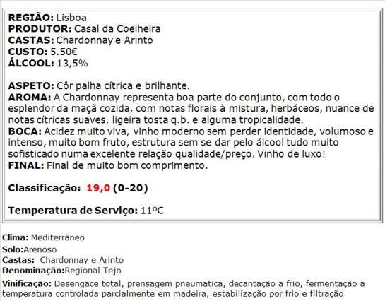 apreciacao Casal da Coelheira Reserva Branco 2014