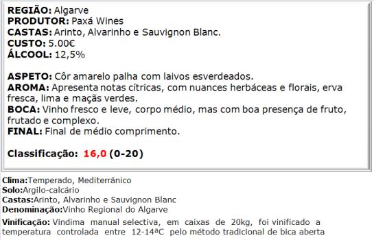 apreciacao Quinta do Outeiro Branco 2013