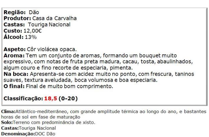 apreciacao Casa da Carvalha Touriga Nacinla Tinto 2011
