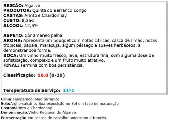 apreciacao Barranco Longo Grande Escolha Branco 2013