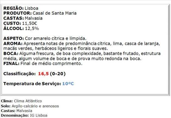 apreciacao Casal Sta. Maria Malvasia Branco 2014