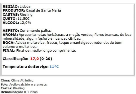 apreciacao Casal Sta. Maria Riesling Branco 2013