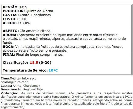 apreciacao Quinta da Alorna Reserva Branco 2014