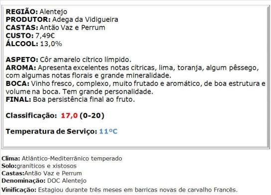 apreciacao Vidigueira Grande Escolha Branco 2013
