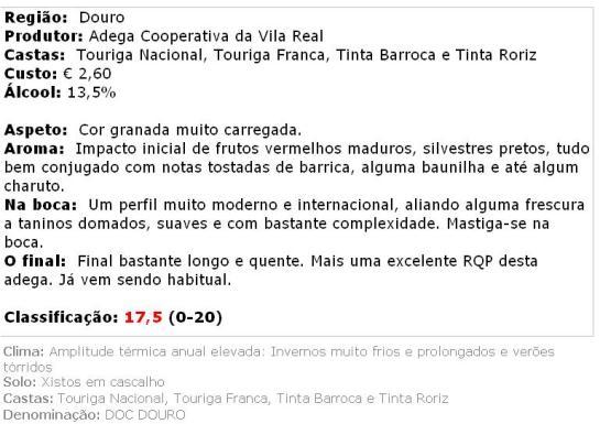 apreciacao Vila Real - Reserva Tinto 2010