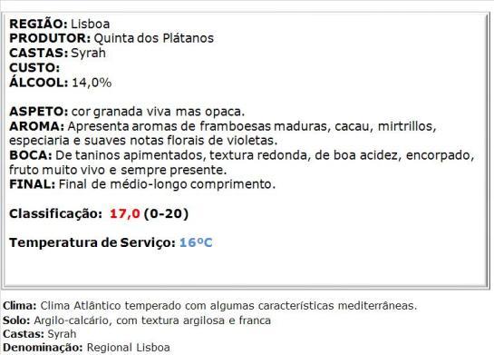 apreciacao Quinta dos Plátanos Syrah Tinto 2013