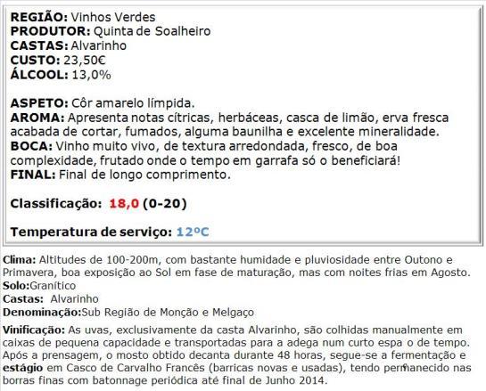 apreciacao Soalheiro Reserva Branco 2014
