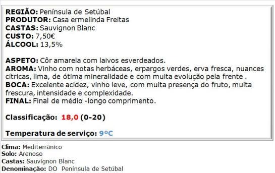 apreciacao Ermelinda Freitas Sauvignon Blanc Branco 2014