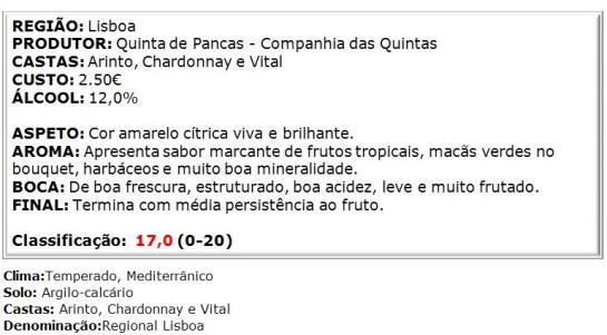apreciacao Quinta de Pancas Branco 2014