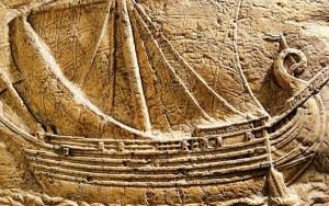 Gravura de um barco Fenício transportando vinho