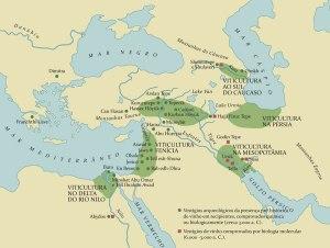 Focos de expansão de vinha na Mesopotâmia até ao Mediterrâneo