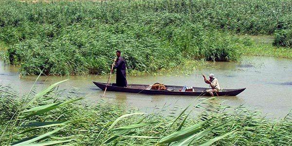 Pântano da Mesopotâmia no Rio Tigre, atual Iraque