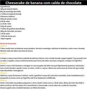 rCheesecake de banana com calda de chocolate