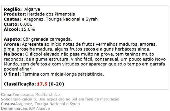 apreciacao Herdade dos Pimentéis Colheita Selecionada tinto 2013