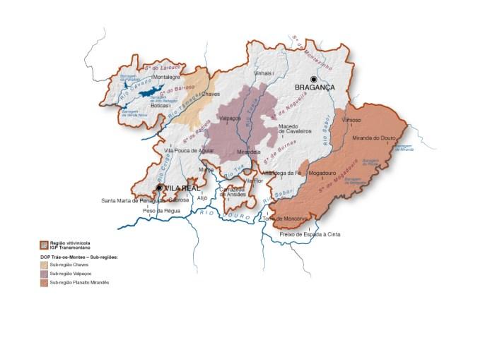 Mapa da Região de Vinhos de Trás-os-Montes