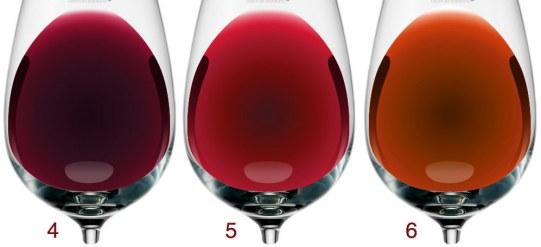 Como ocorre a evolução da cor do vinho tinto