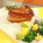 Barriga de porco caramelizada com laranja