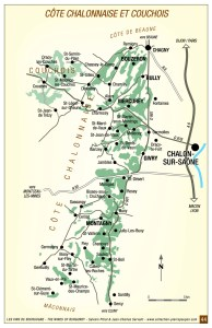 Mapa da AOC Borgonha Côte de Chalonnaise