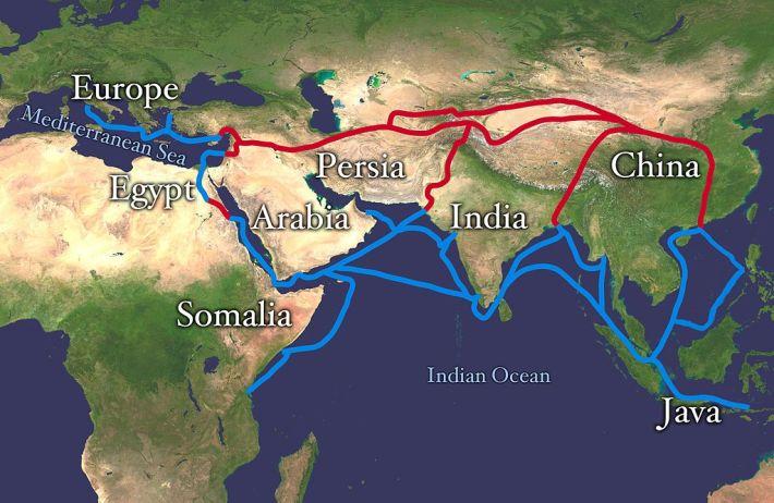 As importantes rotas comerciais da seda e das especiarias, bloqueadas pelos Otomanos em 1453