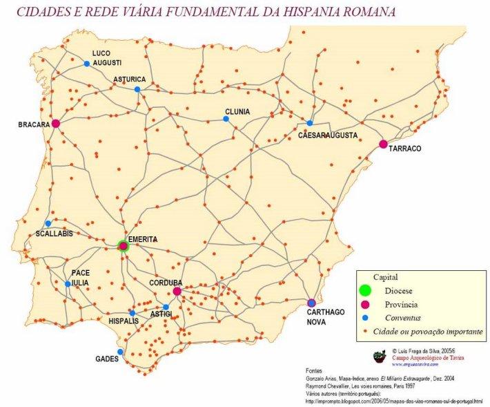 Mapa das vias romanas na península Ibérias. Eram documentadas e com distâncias introduzidas em milhas