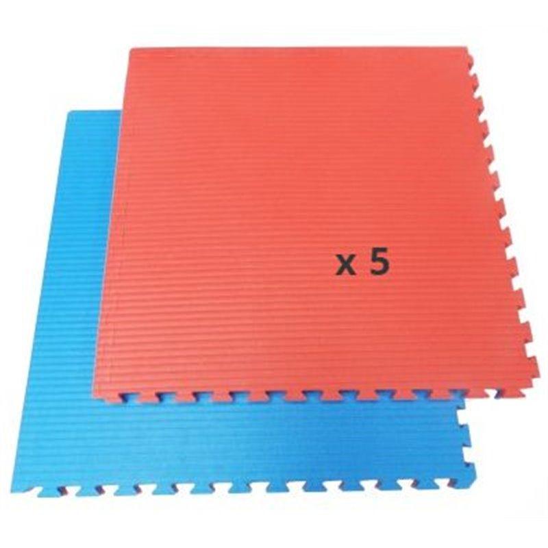 tatami tapis emboitable puzzle 4 cm epaisseur bleu et rouge lot de 5 dalles de 1m