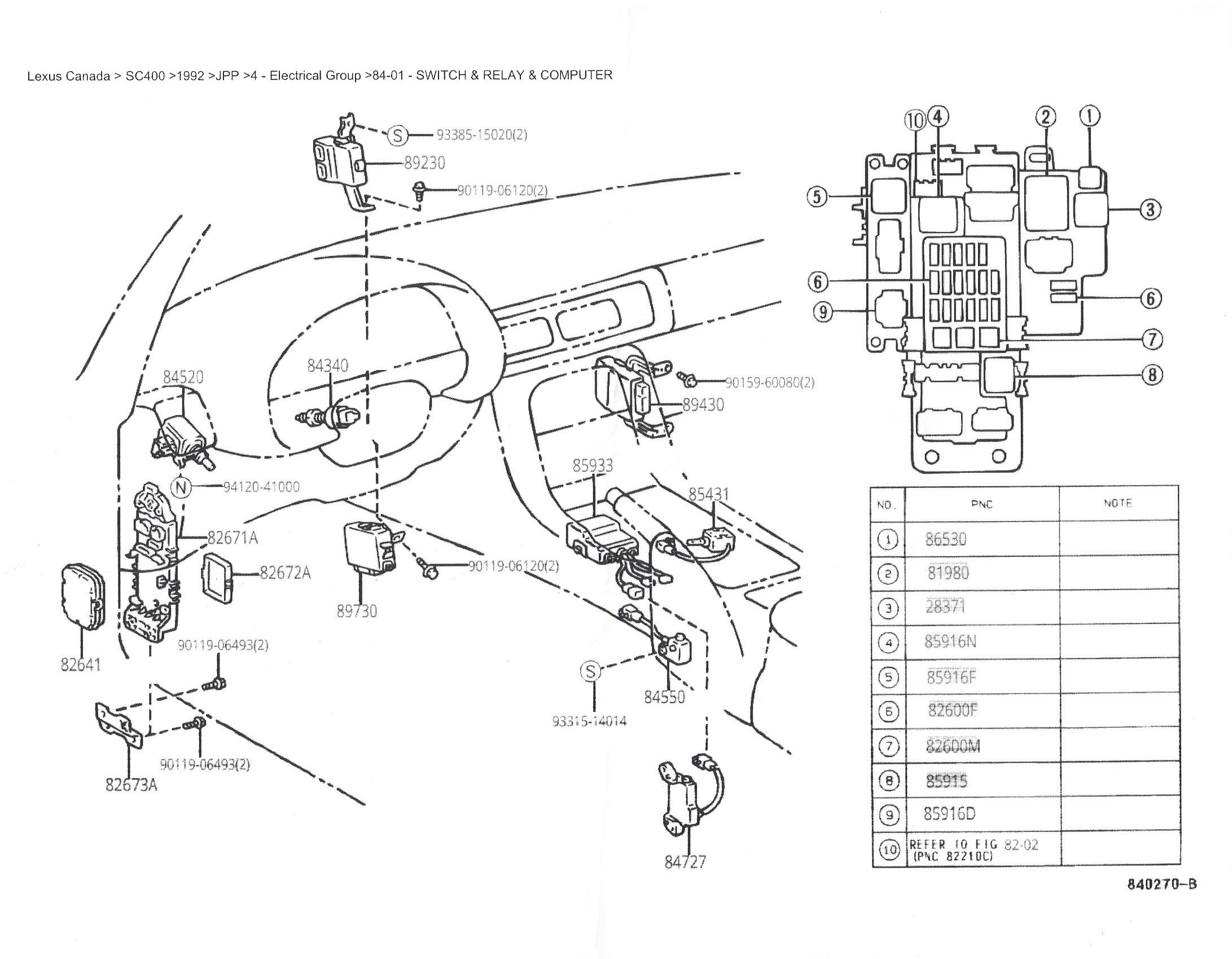 Wire Diagram For Centre Console 92 Sc400 Diagram