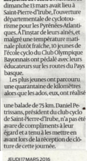 Sud ouest 39 - 17-03-2016 SPI CYCLO