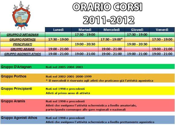 Orario Corsi 2011-2012 del Club Scherma Cosenza