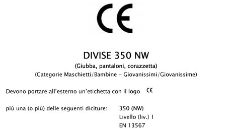 Marchio CE - Divise 350 NW