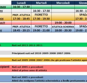 Club Scherma Cosenza - orario 2018-2019