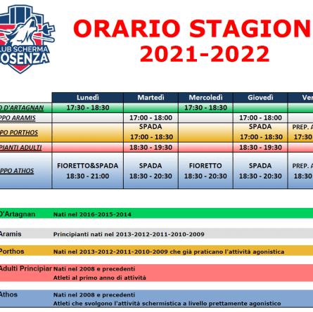 Club Scherma Cosenza - orario 2021-2022