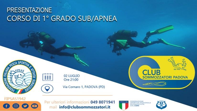 Presentazione corso primo grado apnea e subacquea