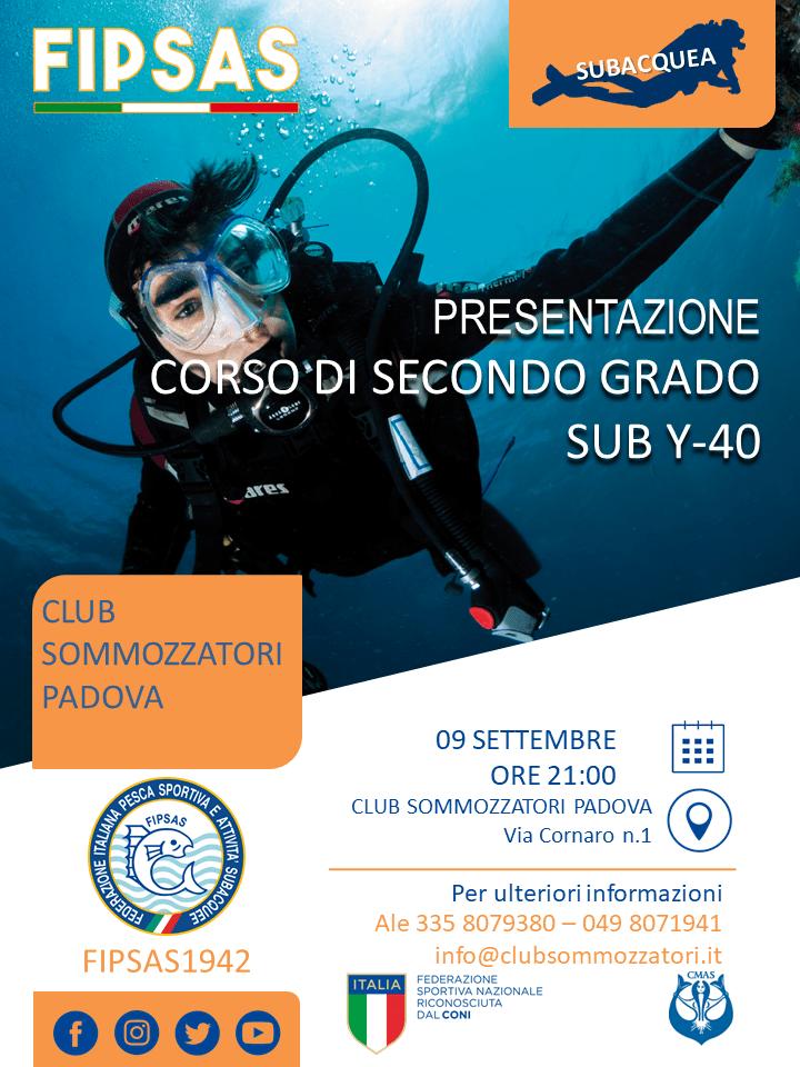 Presentazione corso secondo grado sub 9 settembre 2019 ore 21 in club Sommozzatori padova