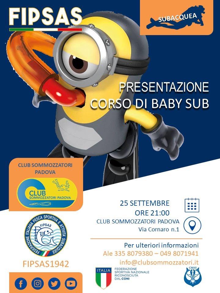 Locandina di presentazione del corso baby sub il 25 settembre alle ore 21 in Club Sommozzatori