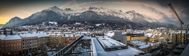 Insbruck: panorama asupra orasului, de pe terasa Restaurant 360