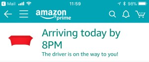 Screenshot showing driver is on the way to me