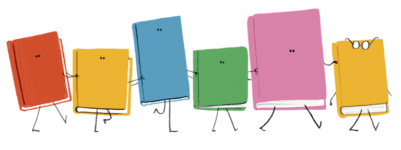 Cartoon of six colorful books marching in a row