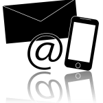 "drawing of ""@"" sign, envelope and smart phone - meant to mean ""email"""