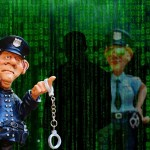 cartoon of two cops with dangling handcuffs and a shadowy figure between them
