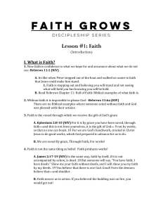 First page of outline for Episode 1: Faith