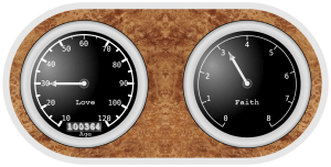 Faith Meter: 2 gauges (like on a car dashboard). The one on the left shows Love, with the needle pointing to 30 (out of 120). The one on the right shows Faith, with the needle pointing to 3 (out of 8).