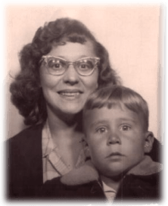 Black and white photo of my mom and I when I was a young lad.