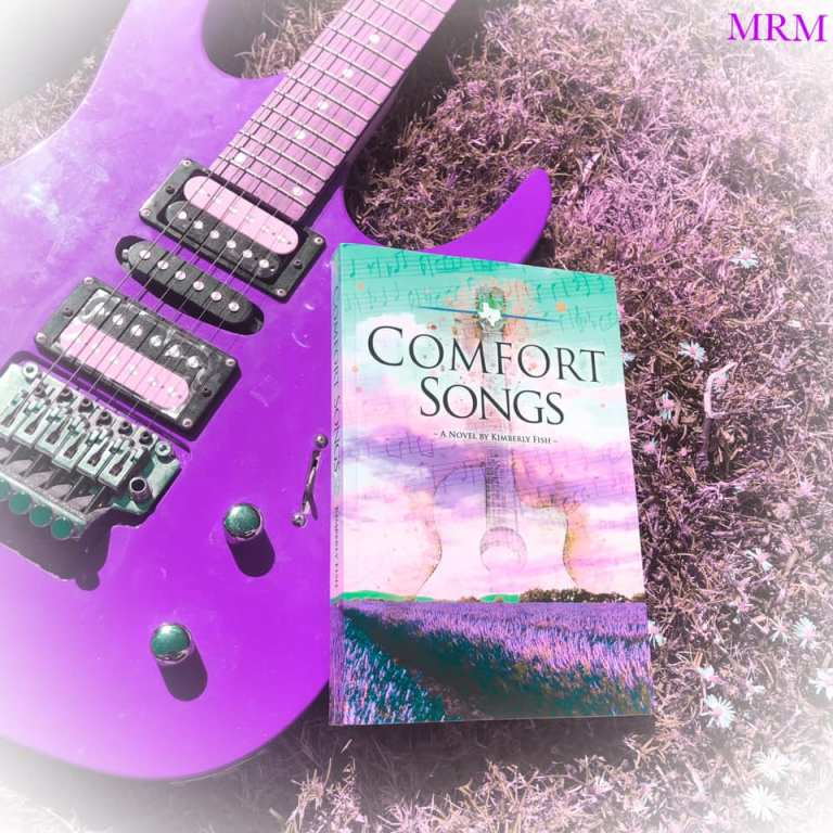Bookstagram: paperback edition of Comfort Songs overlaid on a purple electric guitar.