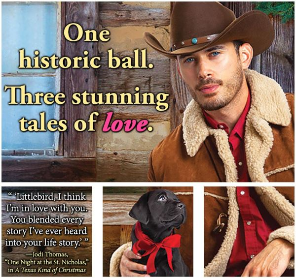 "Meme: One historic ball. Three stunning Tales of Love. ""'Littlebird, I think I'm in love with you. You blended every story I've ever heard into your life story.'"" -Jodi Thomas, ""One Night at the St. Nicholas,"" in A Texas Kind of Christmas"