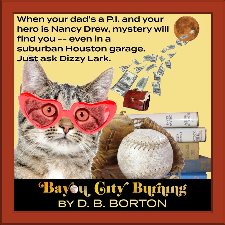 Image of cat with funny glasses, sporting the following text: when your dad's a P.I. and your hero is Nancy Drew, mystery will find you -- even in a suburban Houston garage. Just ask Dizzy Lark.