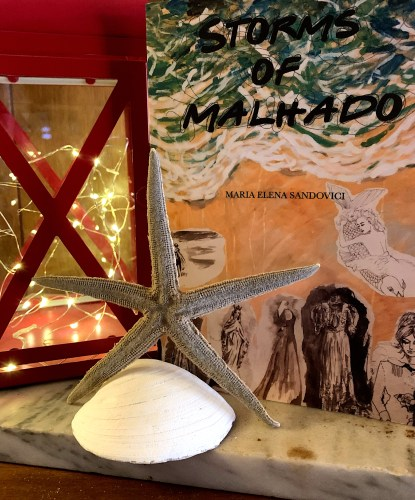 Picture of Storms of Malhado paperback sitting on marble shelf with sea shell, starfish and red lantern.