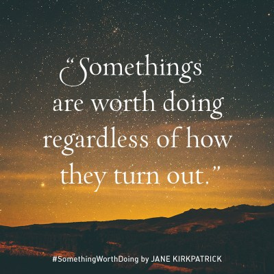 "Image of starry sunset sky over the mountains - Notable Quotable: ""Some things are worth doing regardless of how they turn out."" #SomethingWorthDoing by JANE KIRKPATRICK"