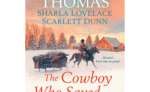 Cowboy Who Saved Christmas Cover: Cowboy riding horse pulling rustic sled with Christmas tree in it.
